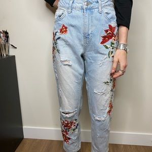 Topshop high waisted blue jeans with embroidery